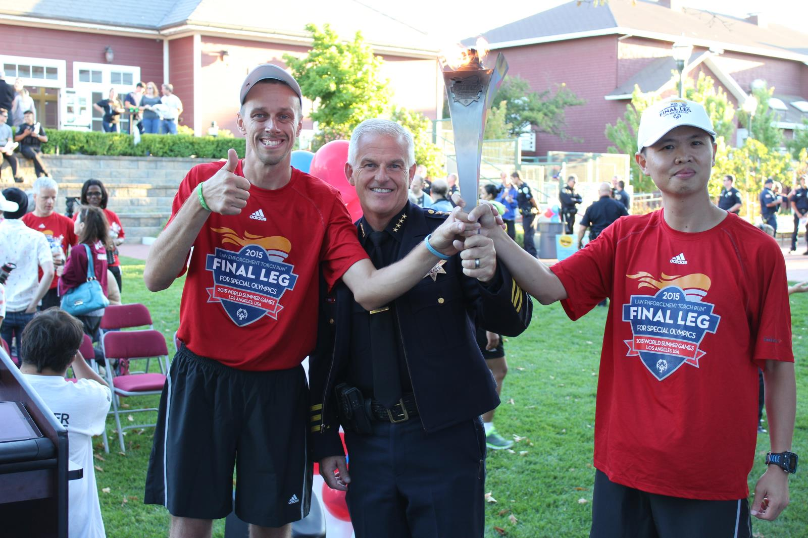 Novato Chief of Police, Jim Berg, with the Flame of Hope