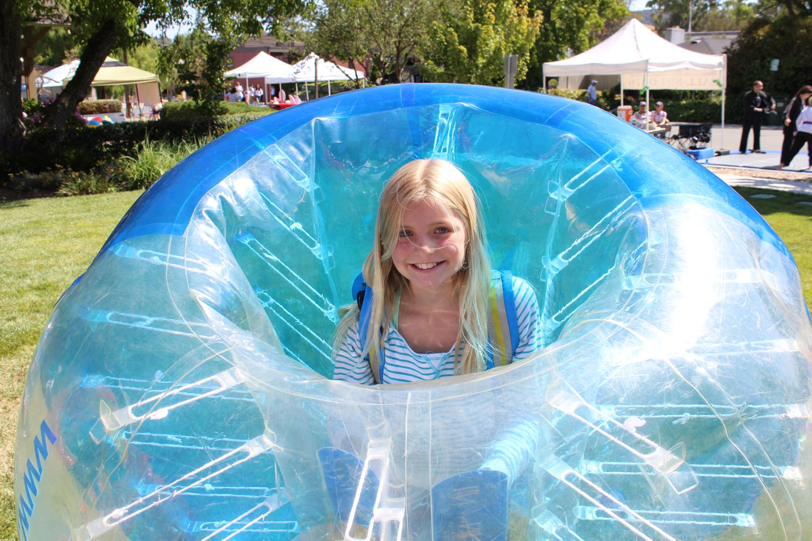 Girl playing Bubble Soccer