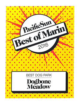 Best of Marin 2016 - Dogbone Meadow awarded as best dog park.