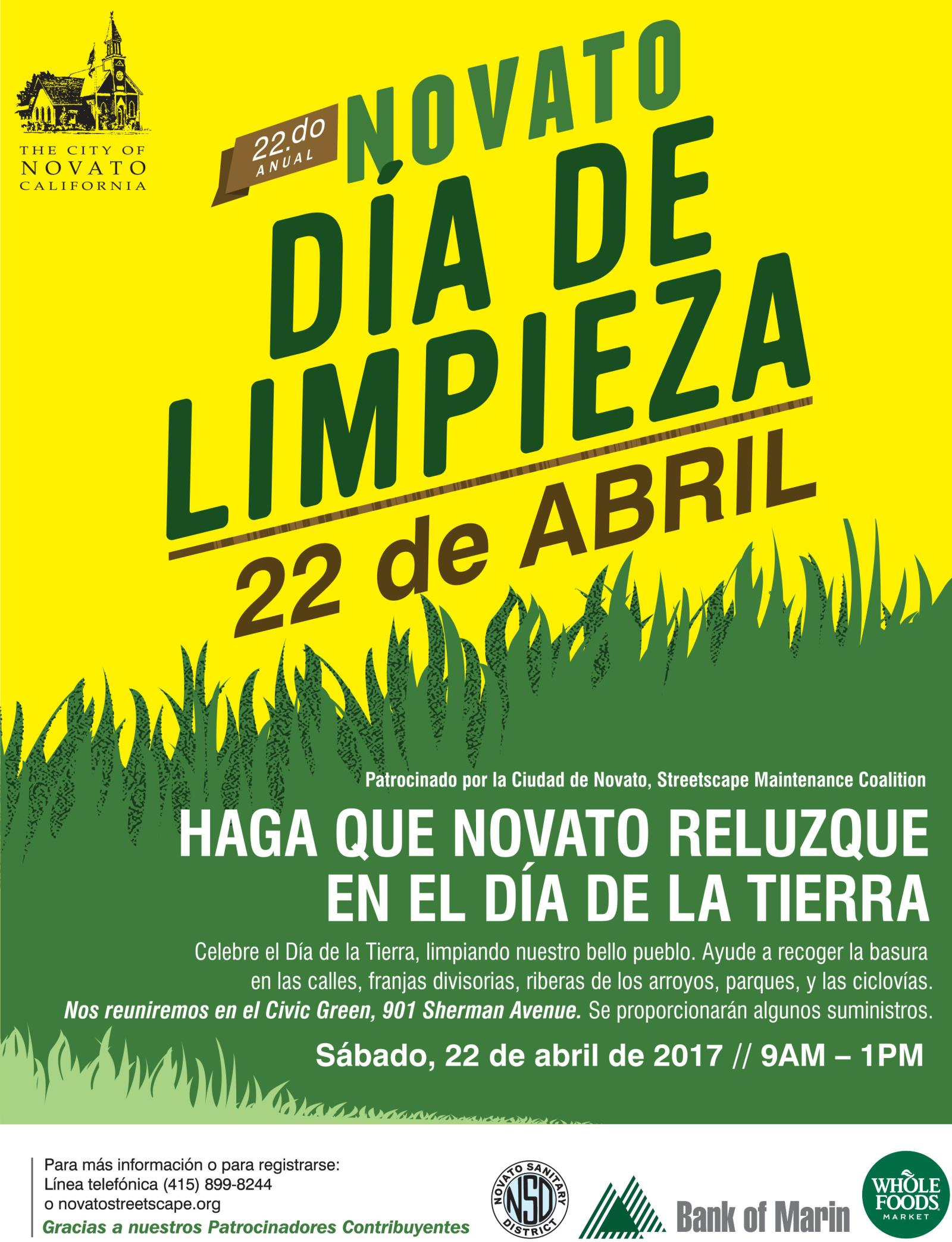 Clean and Green Day flyer in spanish