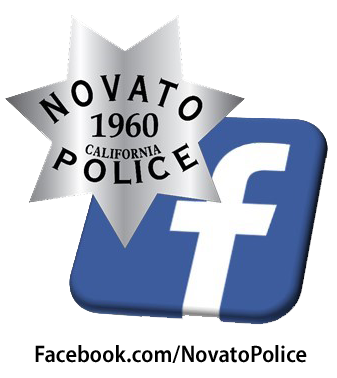 Image of facebook logo with Novato Police badge