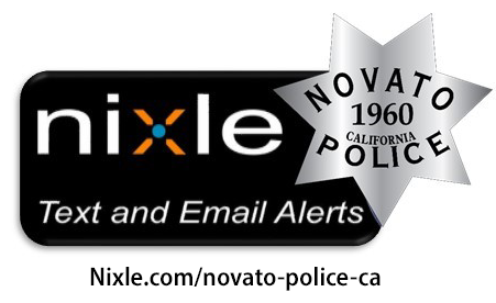 Image of Nixle logo with Novato Police badge