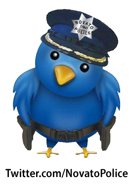 Image of Twitter logo with Novato Police badge