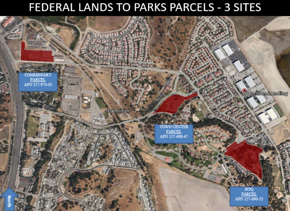 Map of Hamilton Federal Lands to Parks Parcels