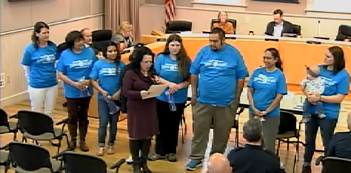 Photo of Novato Blue Ribbon Coalition for Youth receiving a proclamation form Mayor Athas