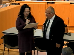 Photo of Novato resident Marv Giambastiani receiving a Certificate of Recognition from Mayor Athas