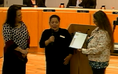 Image of Bullying Prevention Committee Accepting Proclamation