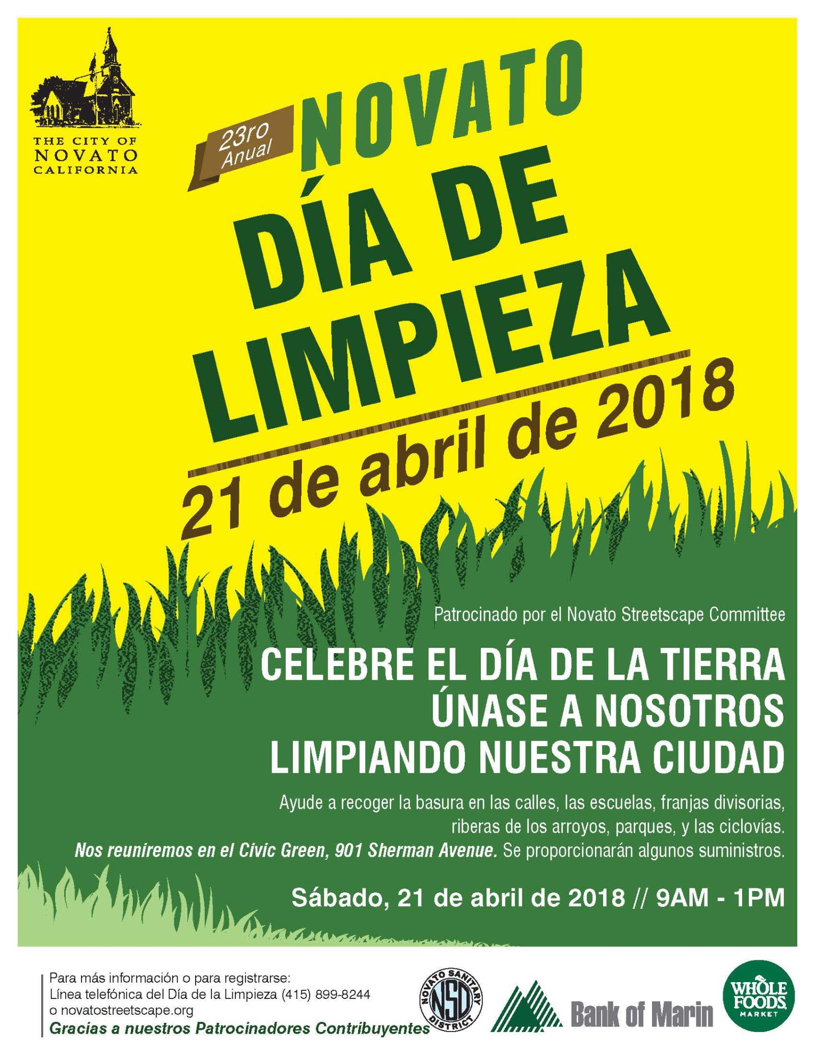 Novato-Clean-and-Green-Day-2018 en Espanol