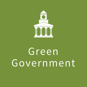 "Icon with image of building with the words ""Green Government"""