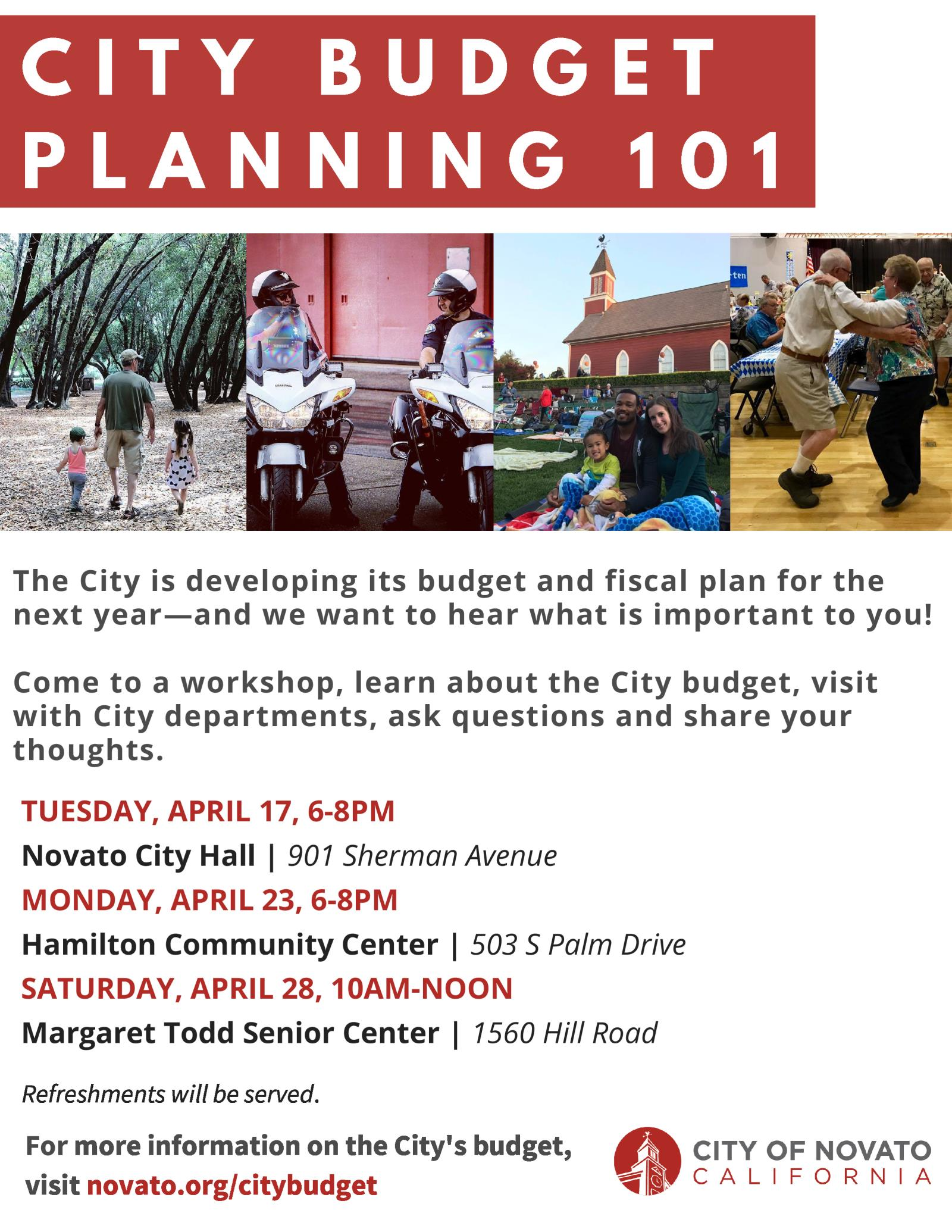 2018 Budget Workshops Flyer in english