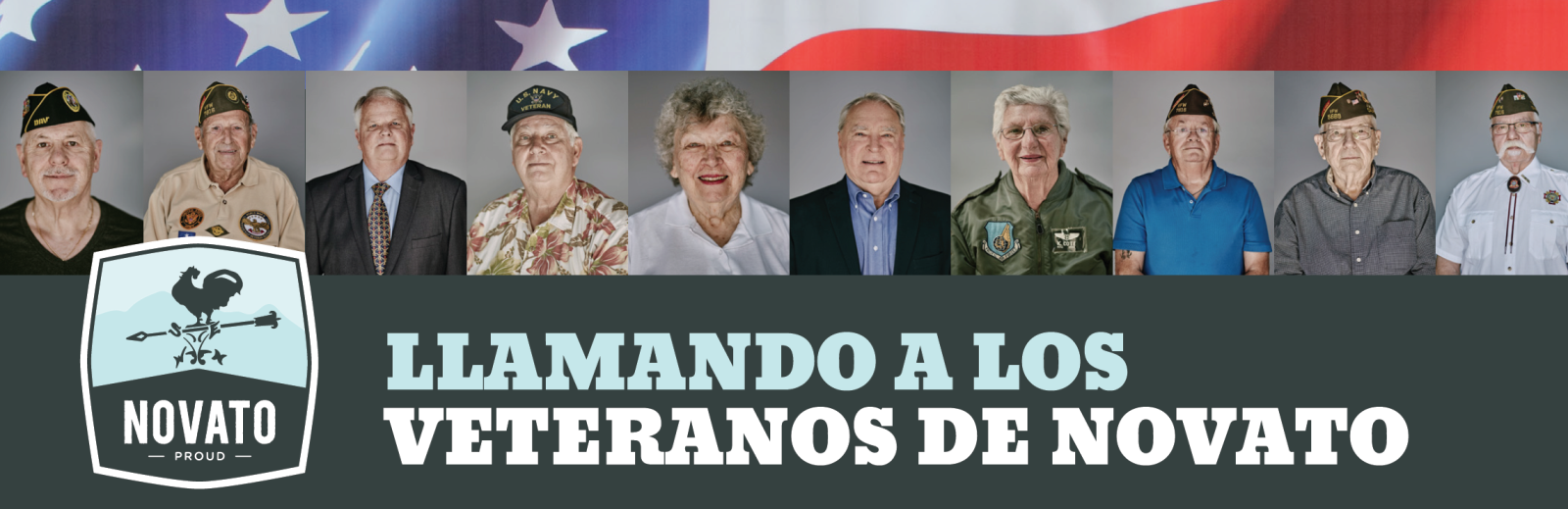 Photo of Veterans and call for Novato Veterans in Spanish