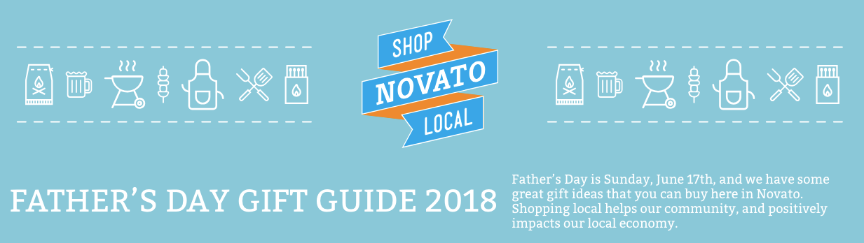 "Image of shop local novato logo with the words ""fathers day gift guide 2018"""