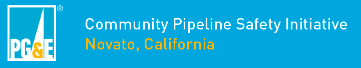 PGE logo with the words community pipepline safety initiative Novato, California