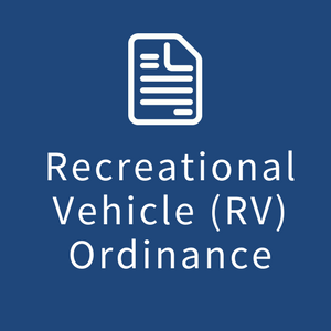 "Image of a box with the words ""Recreational Vehicle (RV) Ordinance"