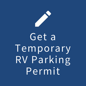 "Image of blue box with the words ""Get a Temporary RV Parking Permit"
