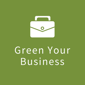 "Icon with image of briefcase with the words ""Green your Business"""