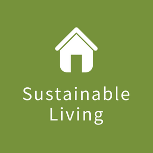 "Icon with image of house with the words ""Sustainable Living"""
