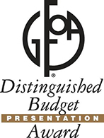 Government Finance Officers Association logo with the words Distinguished Budget Presentation Award