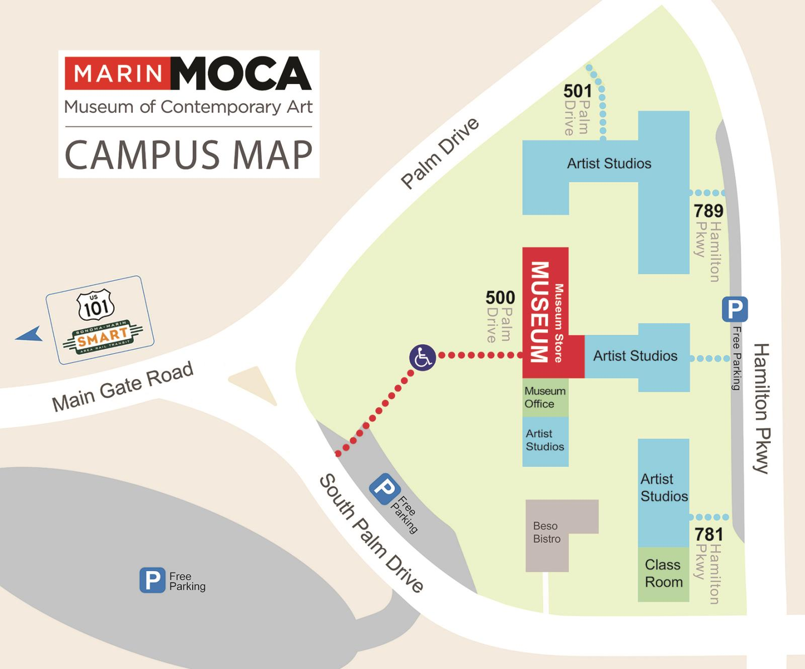 MarinMOCA Campus map