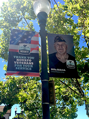 Photo of Novato Proud Banner in Downtown Novato