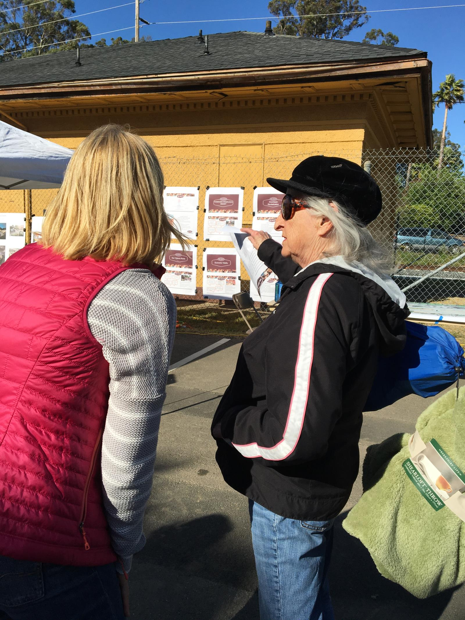Community members reviewing ideas at Depot site