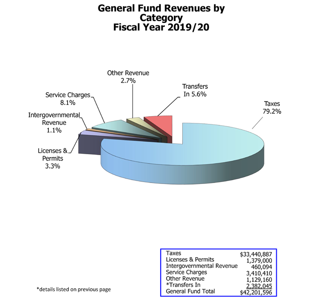 Pie chart of general fund revenues by category