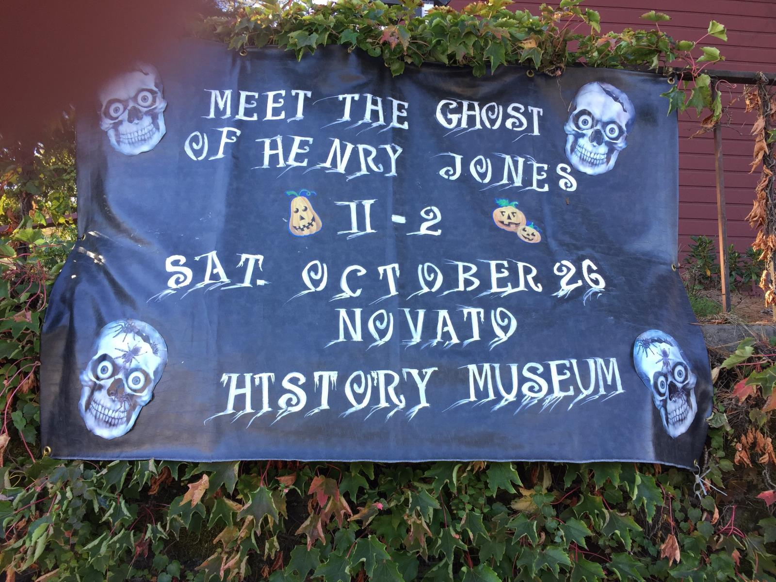 Photo of Novato History Museum sign for Halloween event