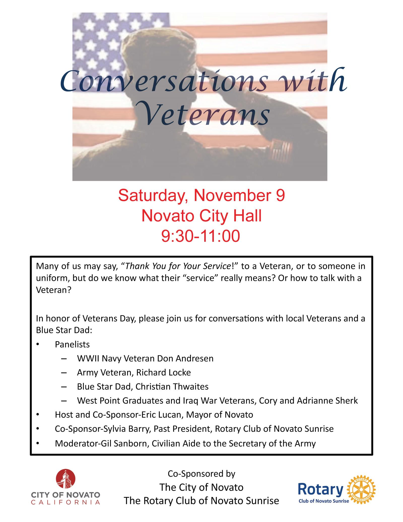 Image of Flyer for Conversations with Veterans