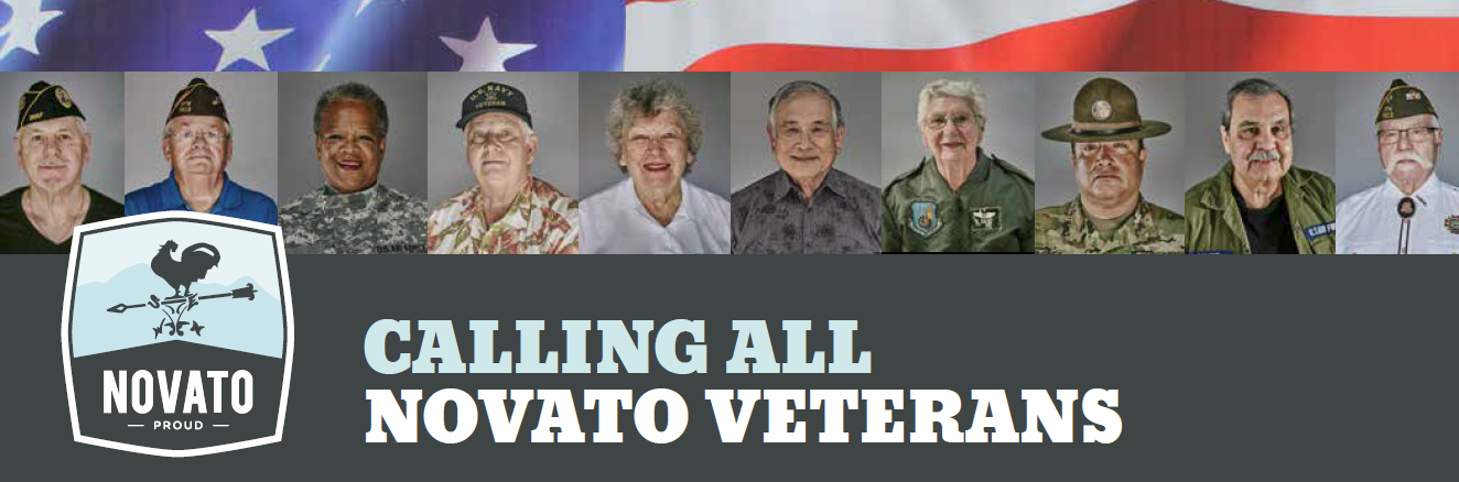 "photos of veterans with the words ""calling all novato veterans"""